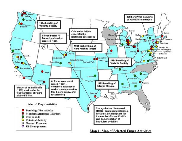 map of jamaat ul fuqra terrorist acts in u s