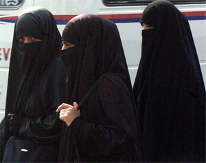 Muslim women in niqab