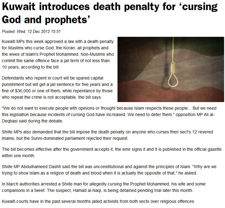 Kuwait enacts the death penalty for insulting Islam