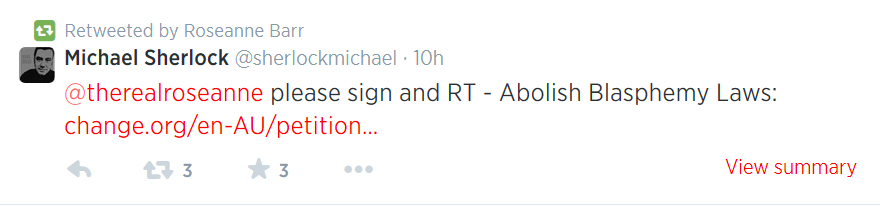 Roseann Barr retweet of Michael Sherlock's petition request