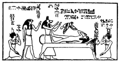 isis flutters as a bird above osiris conceiving horus