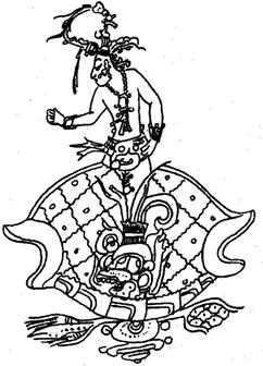Maya maize god growing as World Tree through the earthy turtle