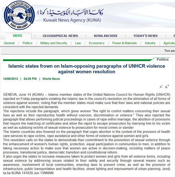 Islamic States UN Human Rights Commission