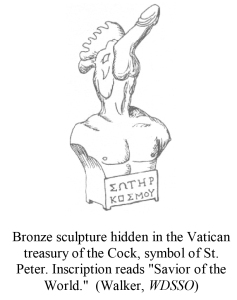 Bronze sculpture hidden in the Vatican treasury of the Cock, sym