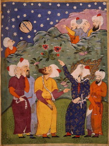 Wikipedia: Mohammed Splits the Moon: Anonymous 16th-century watercolor from a Falnama, a Persian book of prophecy. Muhammad is the veiled figure on the right.